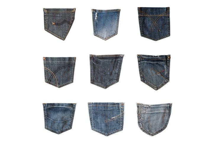 Collection of different jeans back pockets isolated on white
