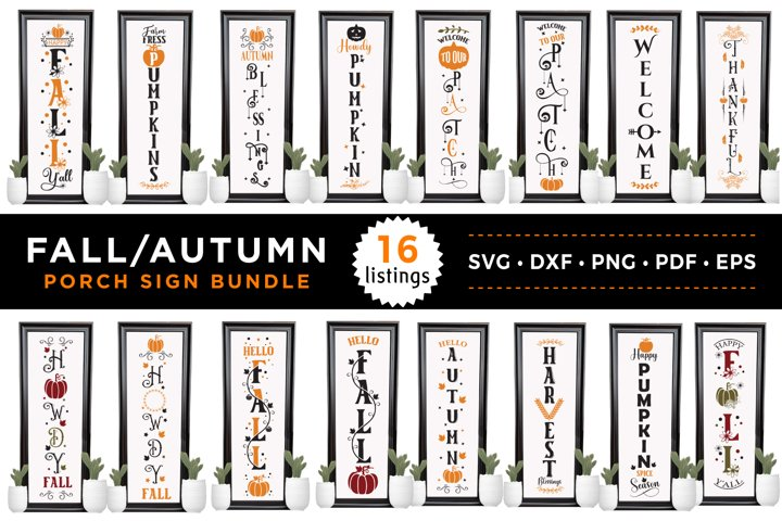 Fall Porch Sign Bundle, 16 Fall Porch Signs, SVG DXF PNG EPS