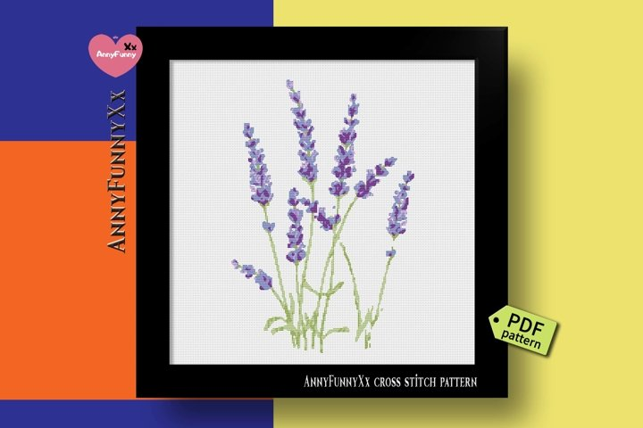 Lavender cross stitch pattern PDF, Floral, flowers