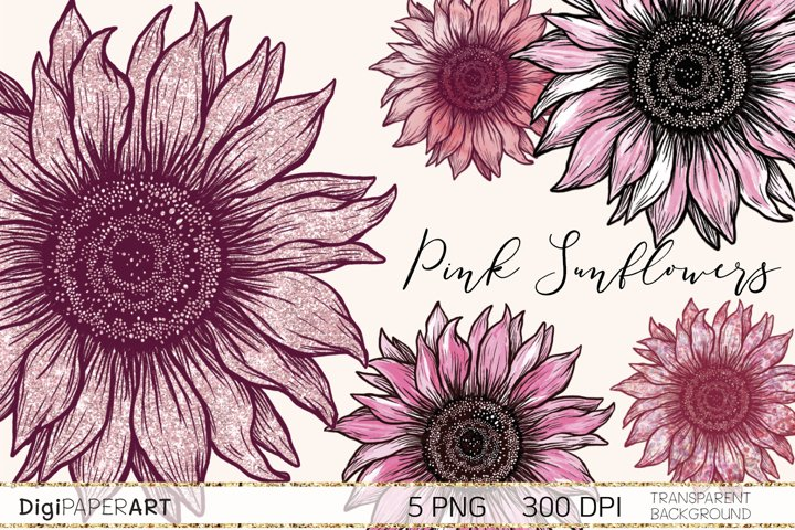 Pink Sunflower PNG, Sunflower Sublimation design