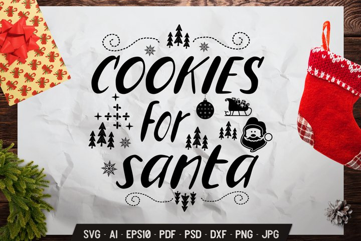 Christmas SVG Quote Winter Lettering Design Cookies Santa