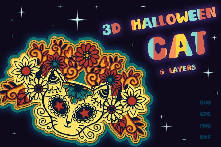3D Halloween Cat - 5 SVG cut files