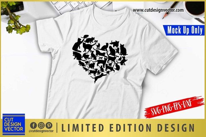 Heart Shaped Cat SVG, Valentines SVG, Valentines