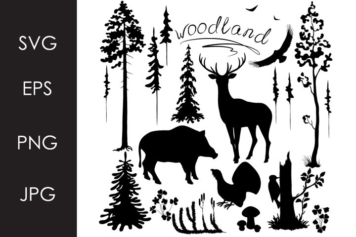 Monochrome Woodland Set SVG, PNG files