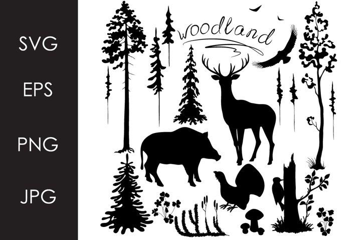 Monochrome Woodland Set SVG, PNG files