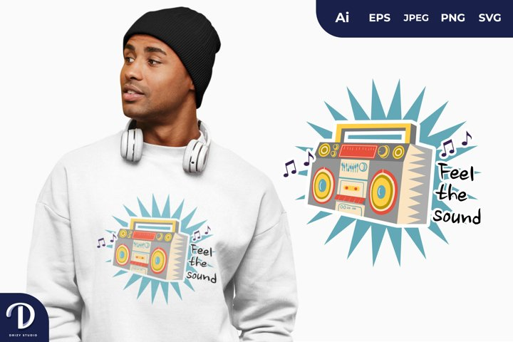 Feel the Sound, Music Collection for T-Shirt Design