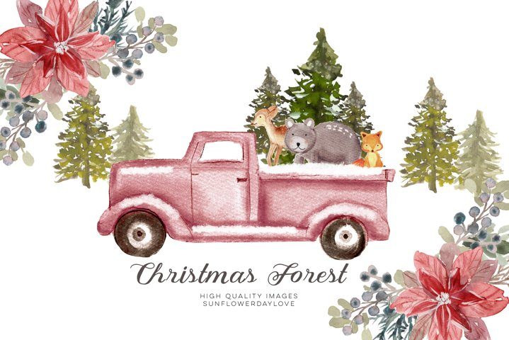 WOODLAND Christmas clipart, Christmas Mountain, Fir Trees
