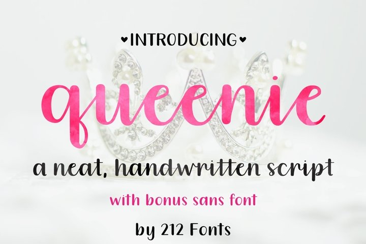 Queenie Font Family including Script, Sans, and Serif