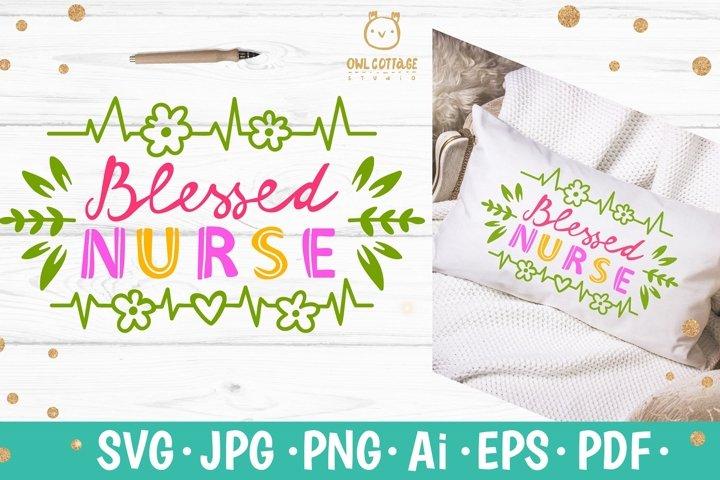 Blessed Nurse SVG, Nurse Floral Monogram SVG, Nurse Tattoo