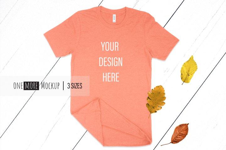 Fall T-Shirt Mockup I Bella Canvas 3001 Heather Sunset