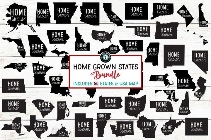 Home Grown 50 States & USA Map Bundle of SVG Designs