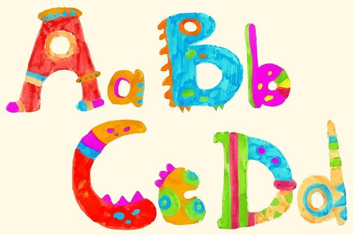 Ethnic brush painted vector alphabet example 3