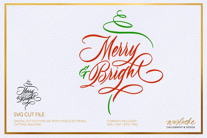 SVG Merry & Bright Christmas Cut File