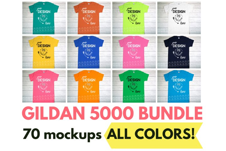 Gildan 5000 Mockup Bundle - Gildan Heavy Cotton T-shirts