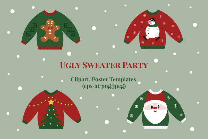 Ugly Sweater Party / Clipart and Poster Templates