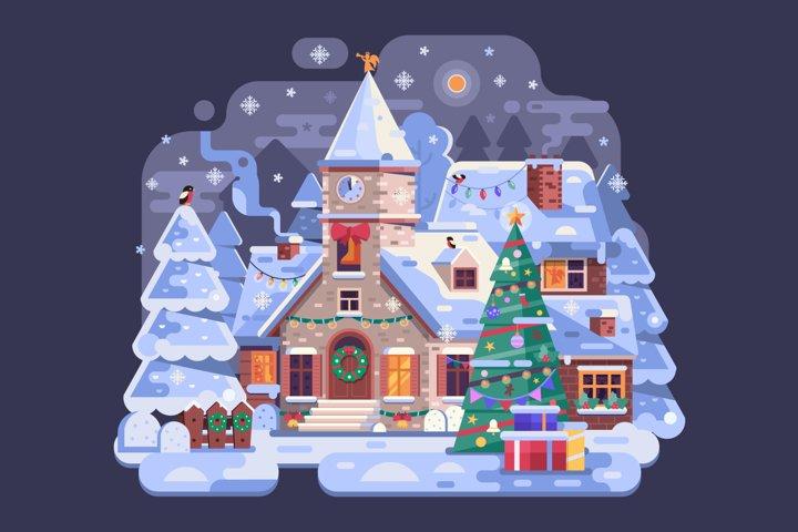 Snowy Christmas Church Scene in Winter Village by Night