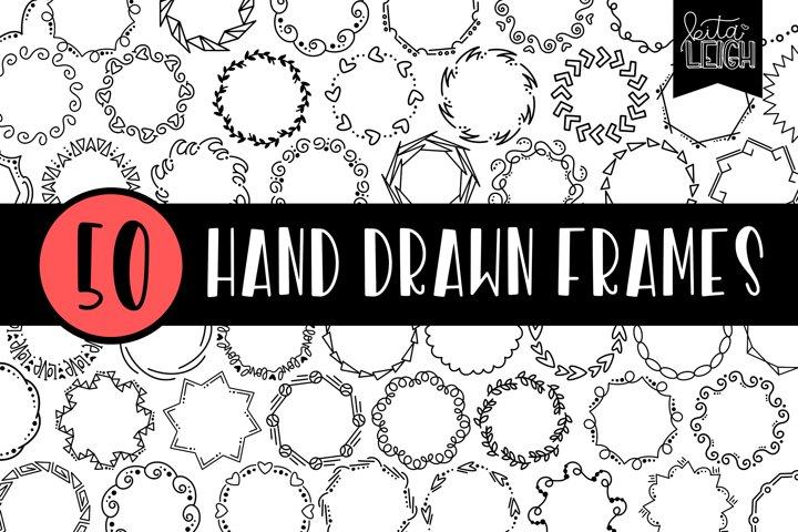 50 Hand Drawn Circle Monogram Doodle Frames Bundle