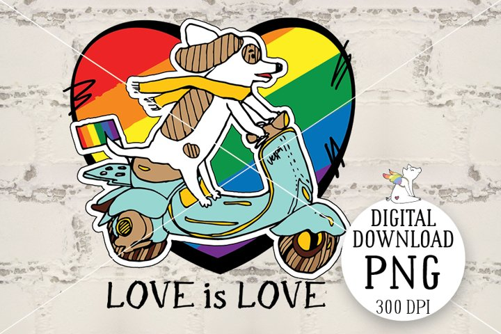 Lgbt Dog PNG, Love is Love, Dog on a motorcycle, LGBTQ pride