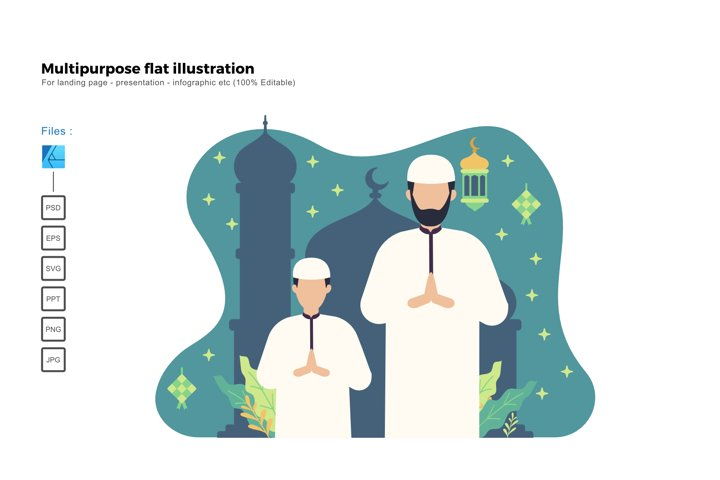 Flat illustration ied mubarak