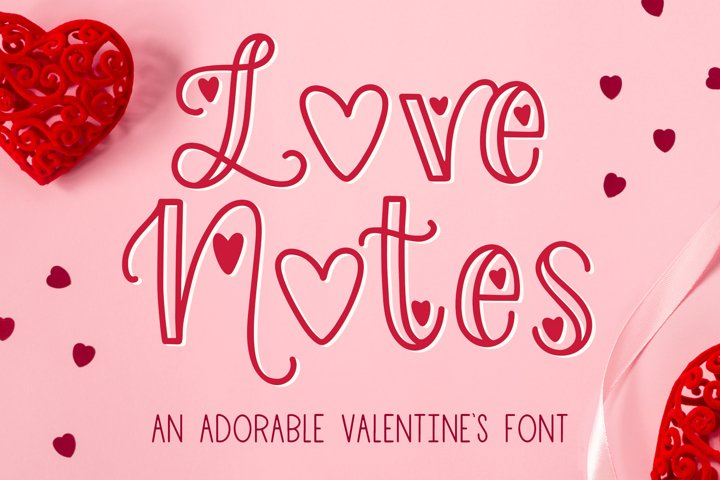 Love Notes, Valentines Font for Crafters