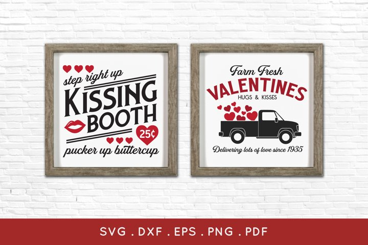 Farm Fresh Valentines and Kissing Booth farmhouse sign svg