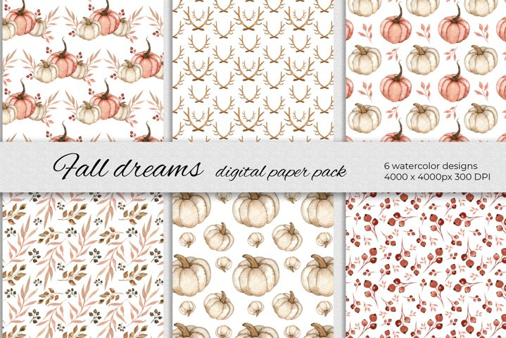 Fall dreams digital papers. Set of 6 autumn designs