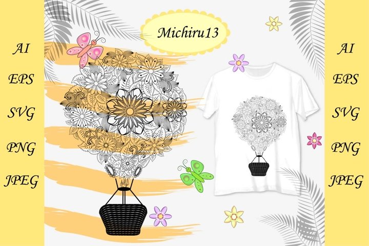 Hot air balloon with flovers, coloring book