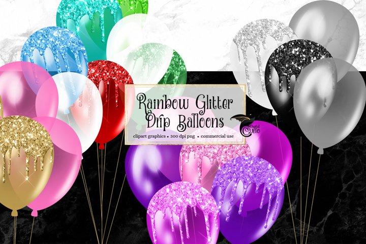 Rainbow Glitter Drip Balloons Clipart