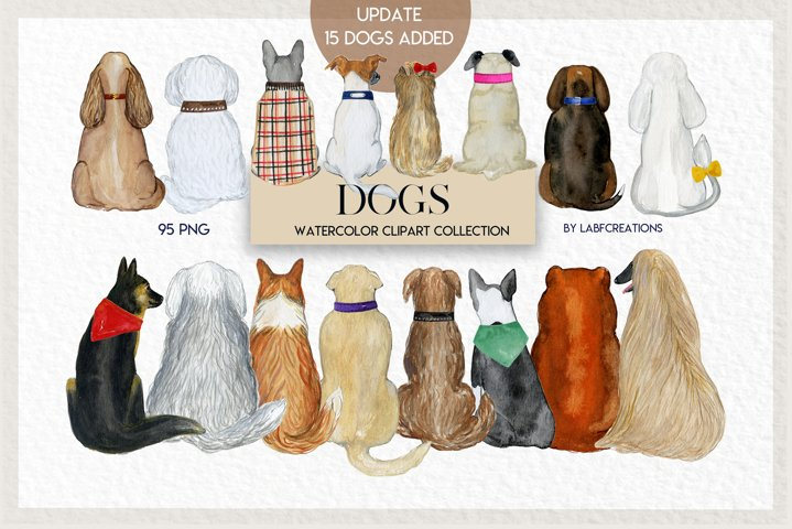 Dogs watercolor clip art, accessories for dogs, backs of dog