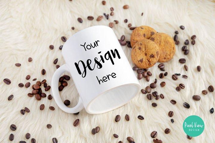 White Mug Mockup with Cookies and Coffee Beans