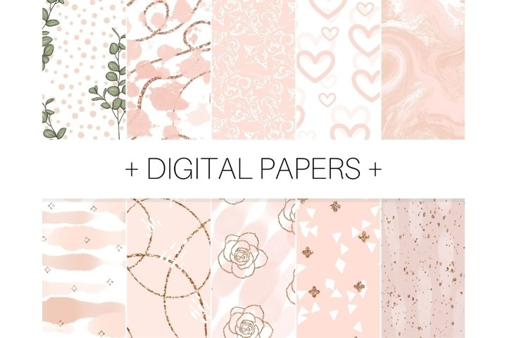 Rose Gold Beige Abstract Floral Background Not Seamless
