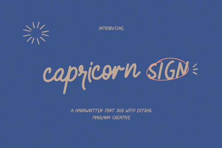 Capricorn Sign Handwritten Font Duo