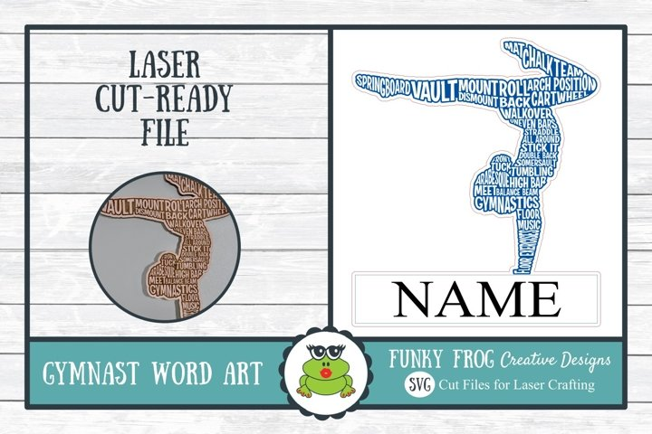 Gymnast Word Art Laser Cut Ready SVG File for Laser Crafting