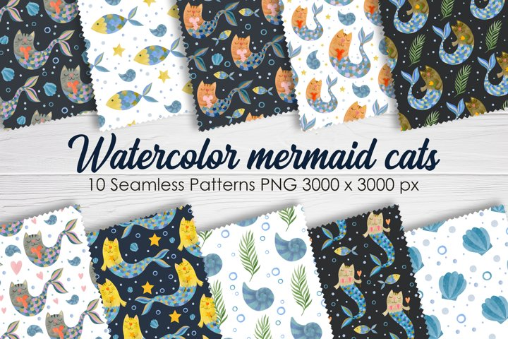 Seamless patterns. Watercolor mermaid cats.