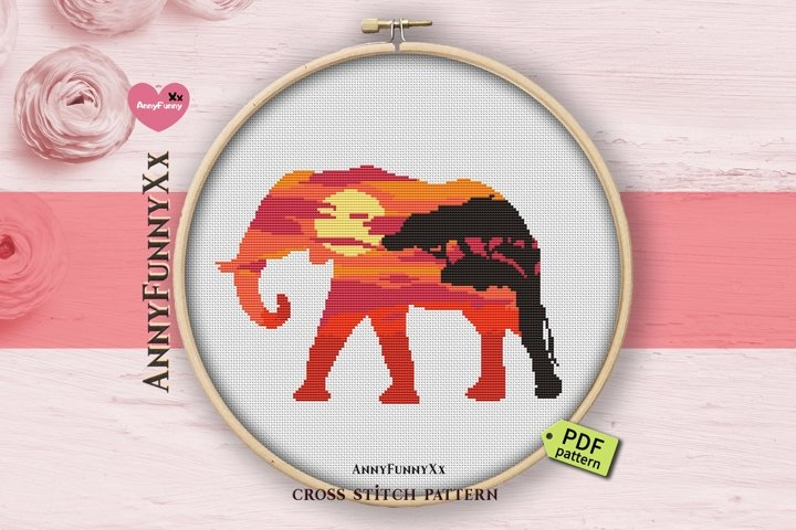 Silhouette Elephant cross stitch pattern PDF, Safari animals