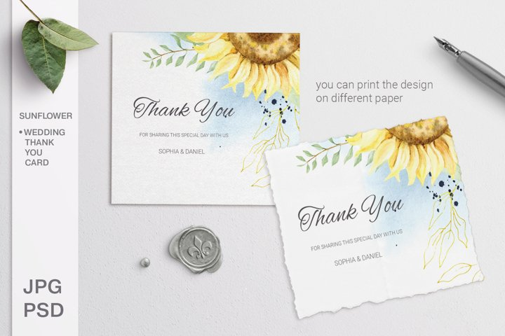 Sunflower Wedding Thank you card. Editable template