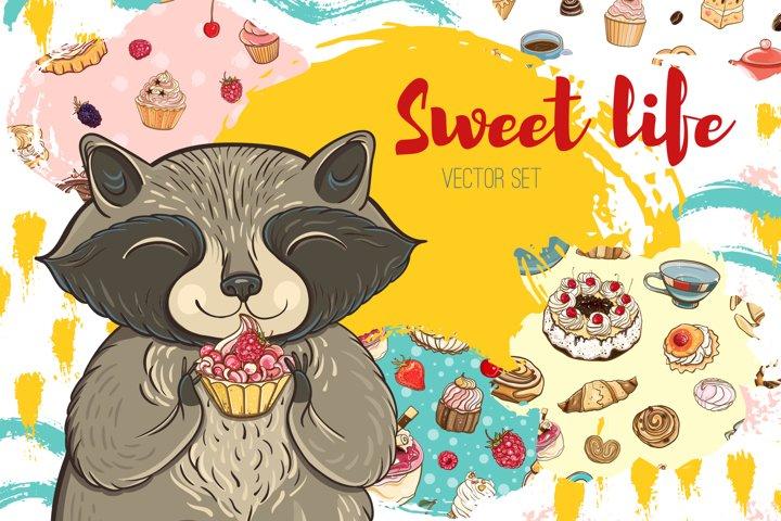 Sweet life. Bakery vector set