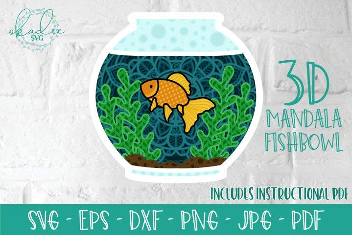 3D Mandala, Layered Goldfish Mandala, Zentangle Cut File