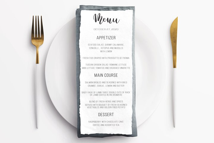 Simple wedding menu invitation template