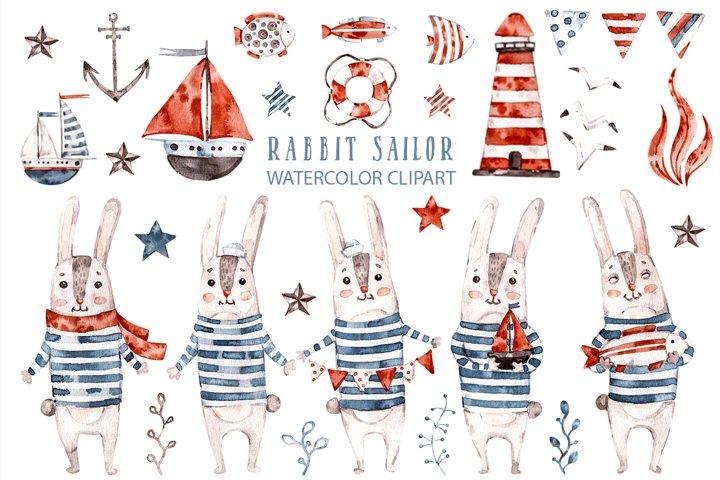 Cute Rabbit sailor. Kids watercolor sea clipart. Baby Bunny