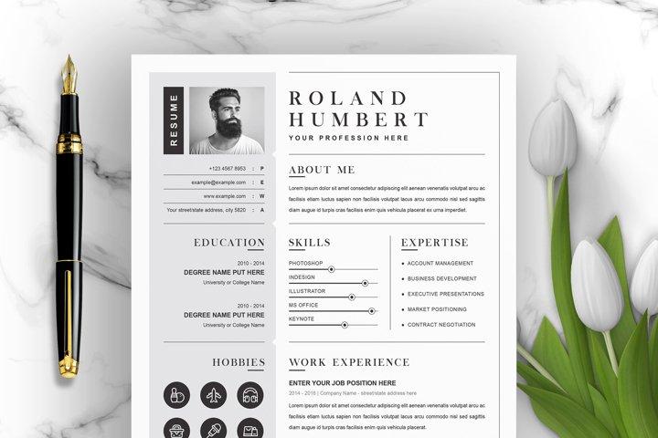 1 Page Resume Template / CV Design