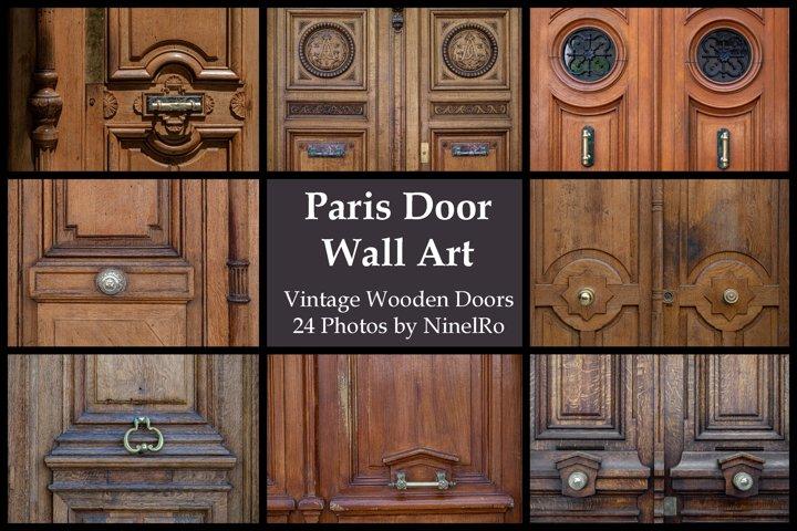 Paris door wall art set of 24 photos. Vintage wooden doors