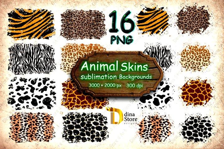 Sublimation Animal skins Distressed Backgrounds png Bundle