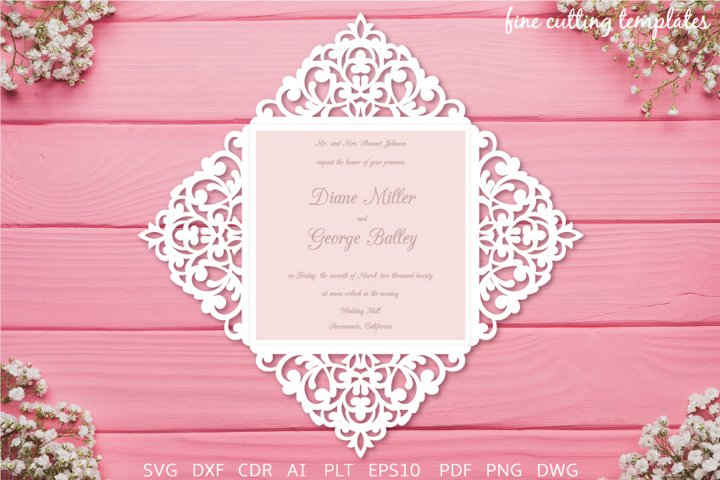 Wedding Invitation Laser cut Four fold card template svg dxf
