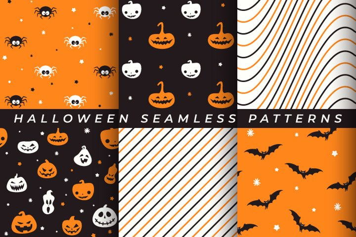 Vector set of Halloween Seamless Patterns