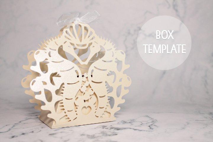 Seahorse favor box template, Wedding favor boxes