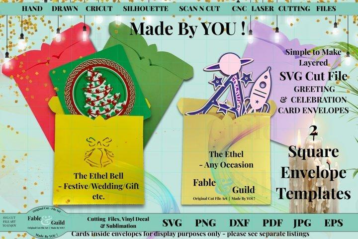 Christmas Wedding Bell Birthday SVG Envelope Template Design