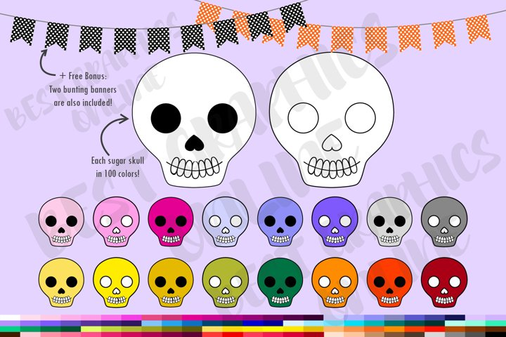 Day of the dead skulls clipart, Dia de Muertos clipart set