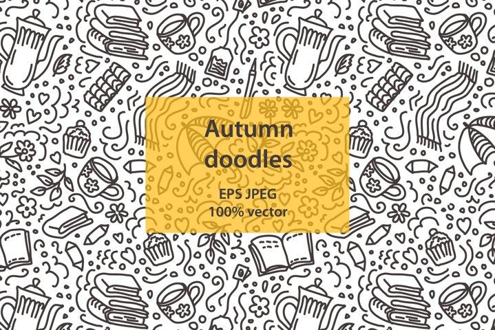 Autumn vector doodle pattern