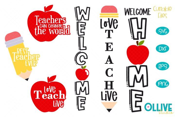 Porch Sign Teacher SVG Bundle, Teacher SVG
